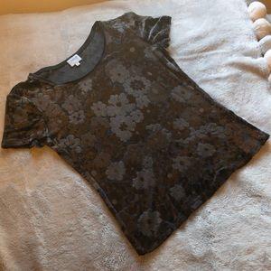 Armani Collezioni Velvet Floral Shirt Dark Gray